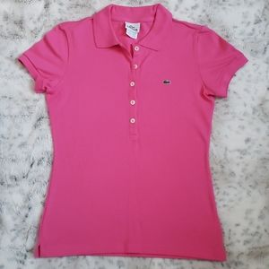Lacoste Pink Polo Shirt Size S